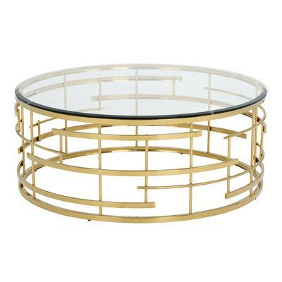 Wildon Home Ikon Cielo Coffee Table | 极简风格 | Round Glass Throughout Madison Park Susie Coffee Tables 2 Color Option (View 5 of 25)