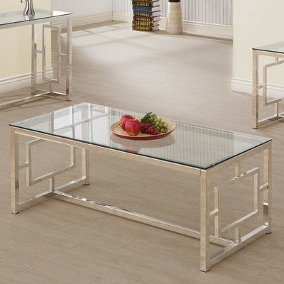 Wildon Home ® Uptown Coffee Table | Home | Glass Top Coffee Intended For Strick & Bolton Jules Chrome And Glass Coffee Tables (View 14 of 25)