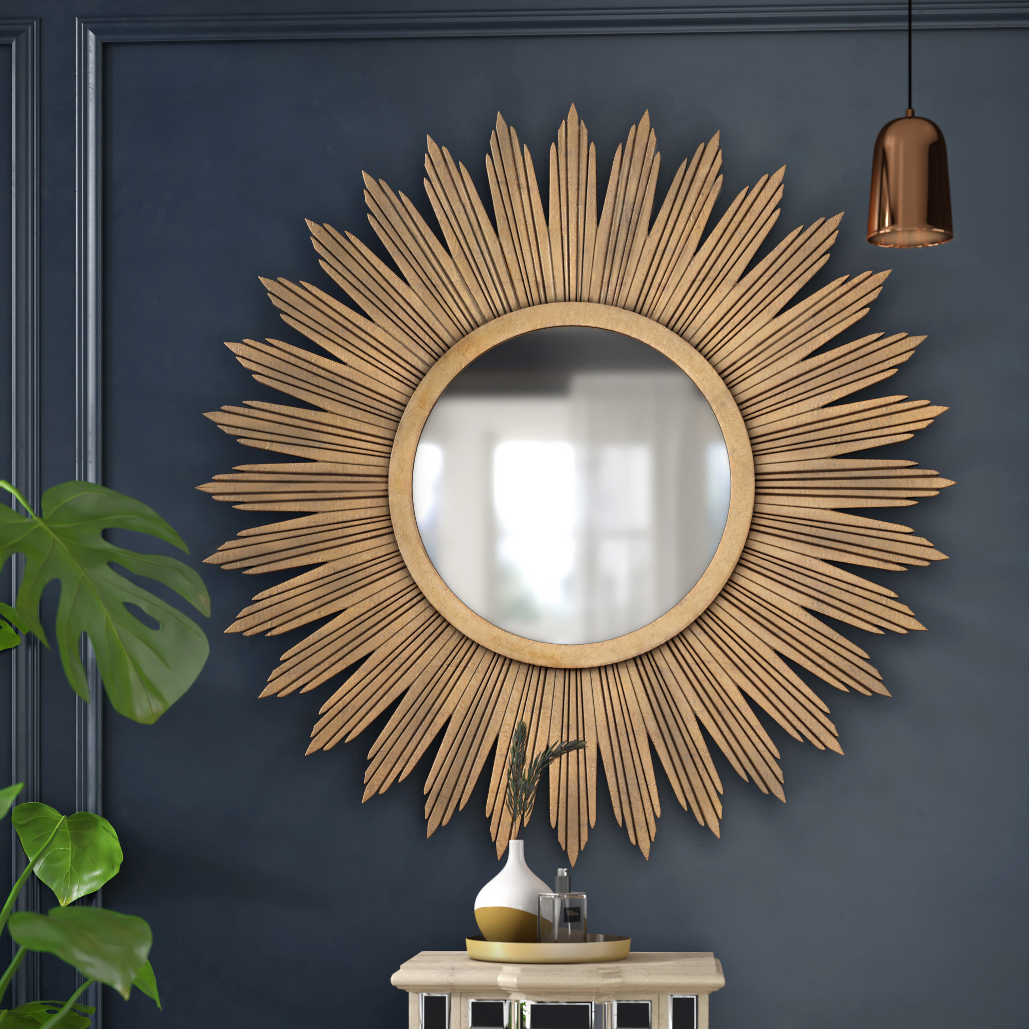 Willa Arlo Interiors Aged Gold Wall Décor Modern For Harbert Modern And Contemporary Distressed Accent Mirrors (Image 20 of 20)