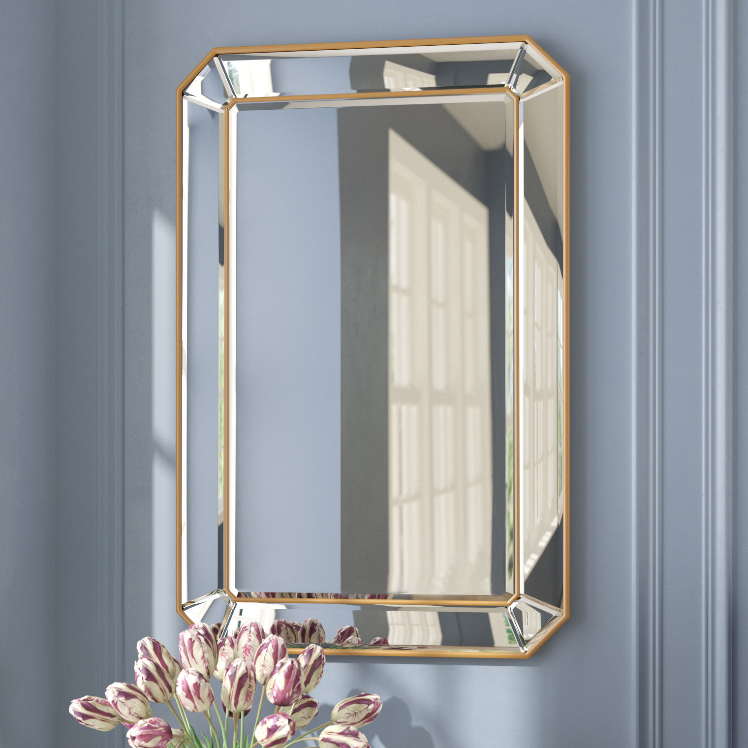 Willa Arlo Interiors Briley Rectangle Gold Angled Accent Intended For Rectangle Accent Wall Mirrors (View 4 of 20)
