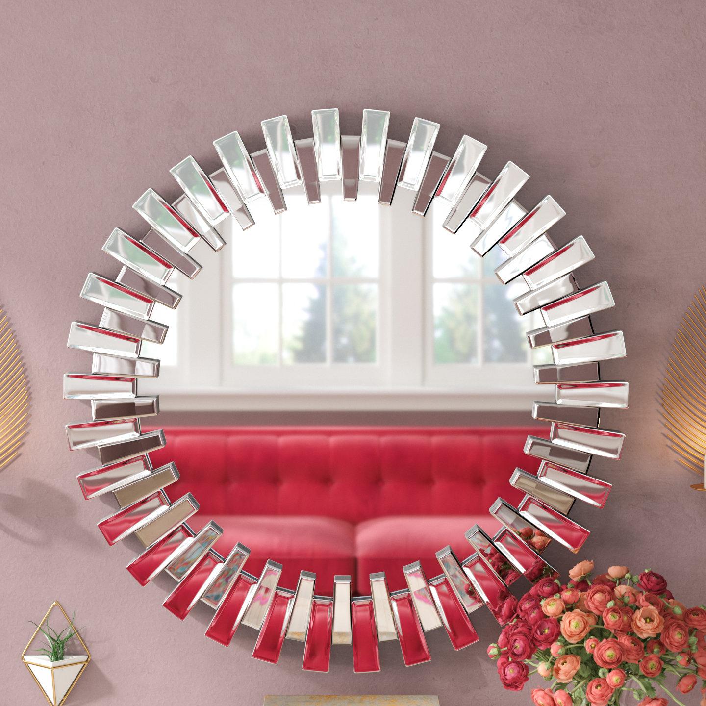 Willa Arlo Interiors Deniece Sunburst Round Wall Mirror For Deniece Sunburst Round Wall Mirrors (Image 16 of 20)