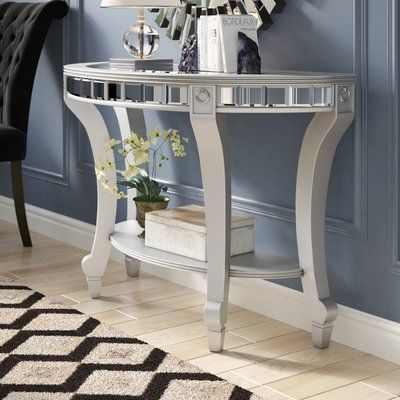 Willa Arlo Interiors Jocelyn Mirrored Demilune Console Table Regarding Silver Orchid Olivia Glam Mirrored Round Cocktail Tables (View 27 of 50)