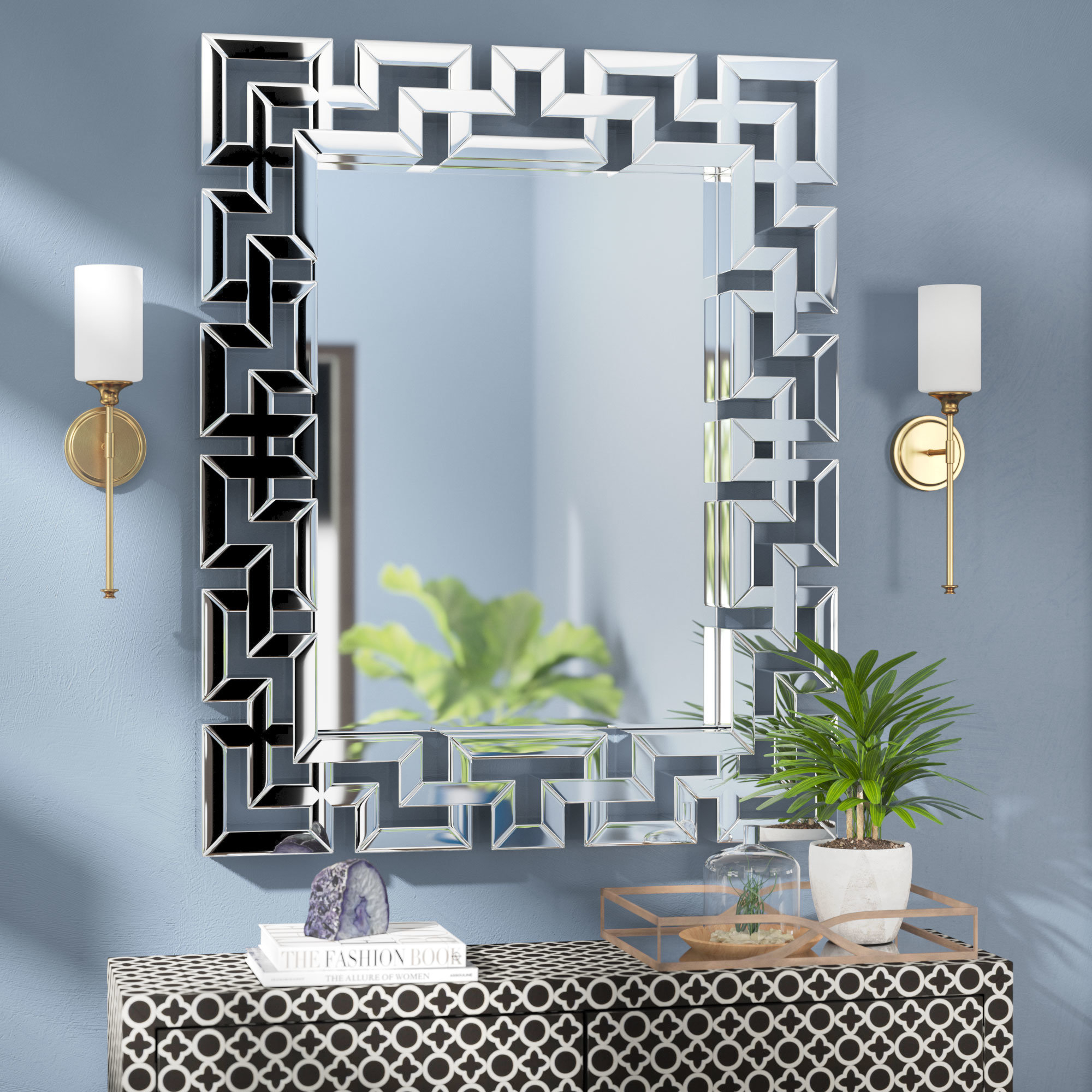 Willa Arlo Interiors Rectangle Ornate Geometric Wall Mirror In Caja Rectangle Glass Frame Wall Mirrors (View 3 of 20)