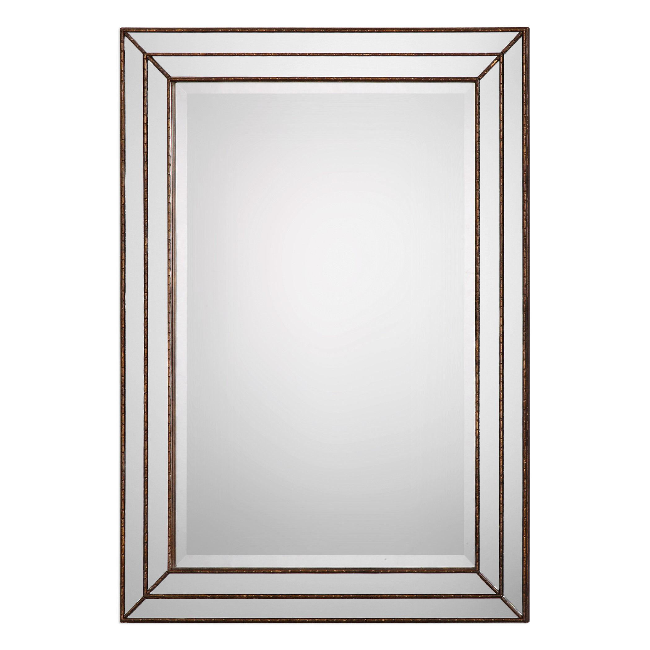 Willacoochee Traditional Beveled Accent Mirror Regarding Tetbury Frameless Tri Bevel Wall Mirrors (Image 20 of 20)