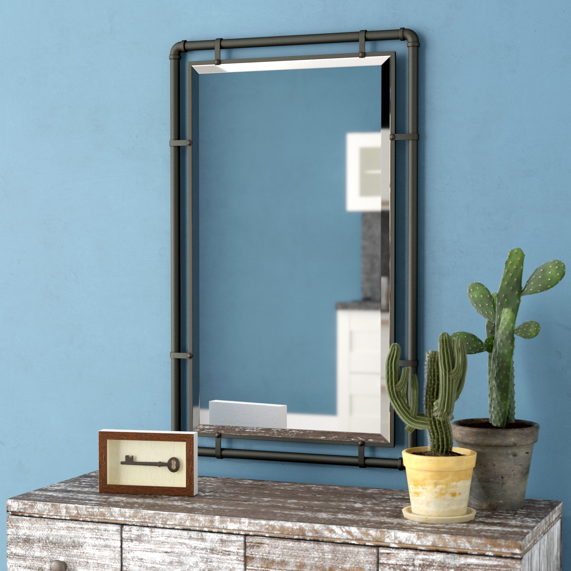 Williston Forge Koeller Industrial Metal Wall Mirror Within Koeller Industrial Metal Wall Mirrors (View 2 of 20)