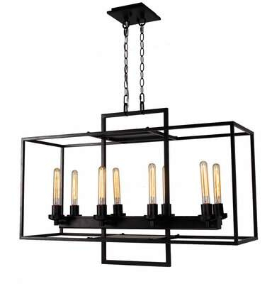 Williston Forge Schuck Industrial Rectangular Cube 8 Light Kitchen Island Pendant Williston Forge Within Callington 1 Light Led Single Geometric Pendants (View 19 of 25)
