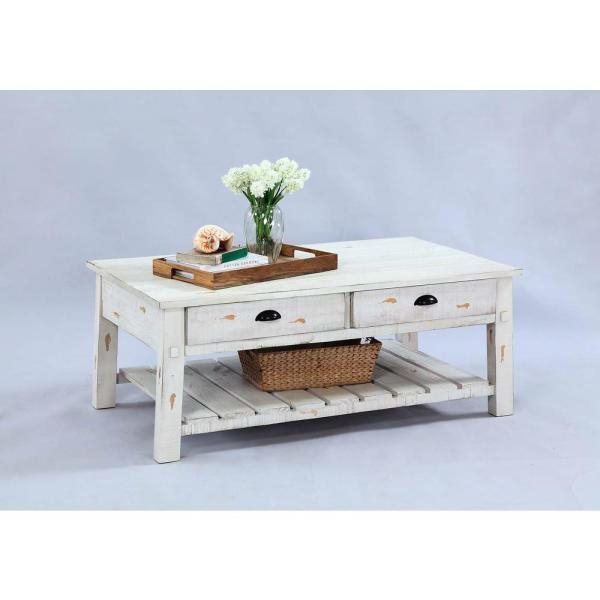 Willow Distressed White Rectangular Cocktail Table Inside Jessa Rustic Country 54 Inch Coffee Tables (Image 25 of 25)