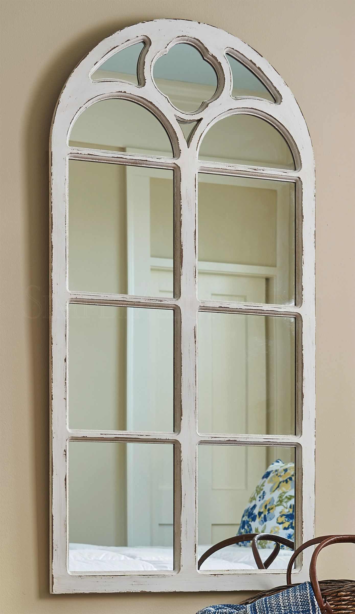 Window Mirror With Solid Wood Frame – Distressed White Paint Regarding Faux Window Wood Wall Mirrors (View 12 of 20)