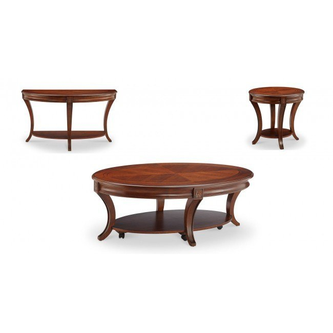 Winslet Occasional Table Set With Regard To Winslet Cherry Finish Wood Oval Coffee Tables With Casters (View 3 of 25)