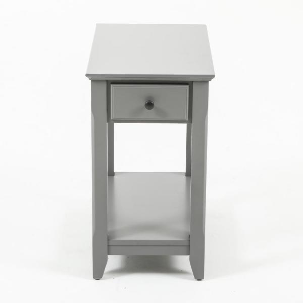 Winsome House Gray Slim Single Drawer End Table Whif420 Intended For Furniture Of America Charlotte Weathered Oak Glass Top Coffee Tables (Image 50 of 50)