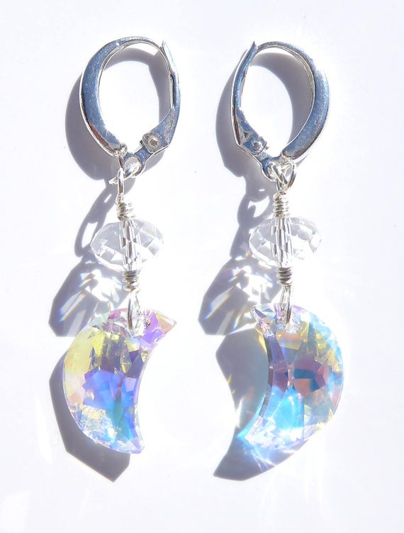 Wire Wrapped Celestial Swarovski Crystal Crescent Moon Earrings For Kimsey 1 Light Teardrop Pendants (View 12 of 25)