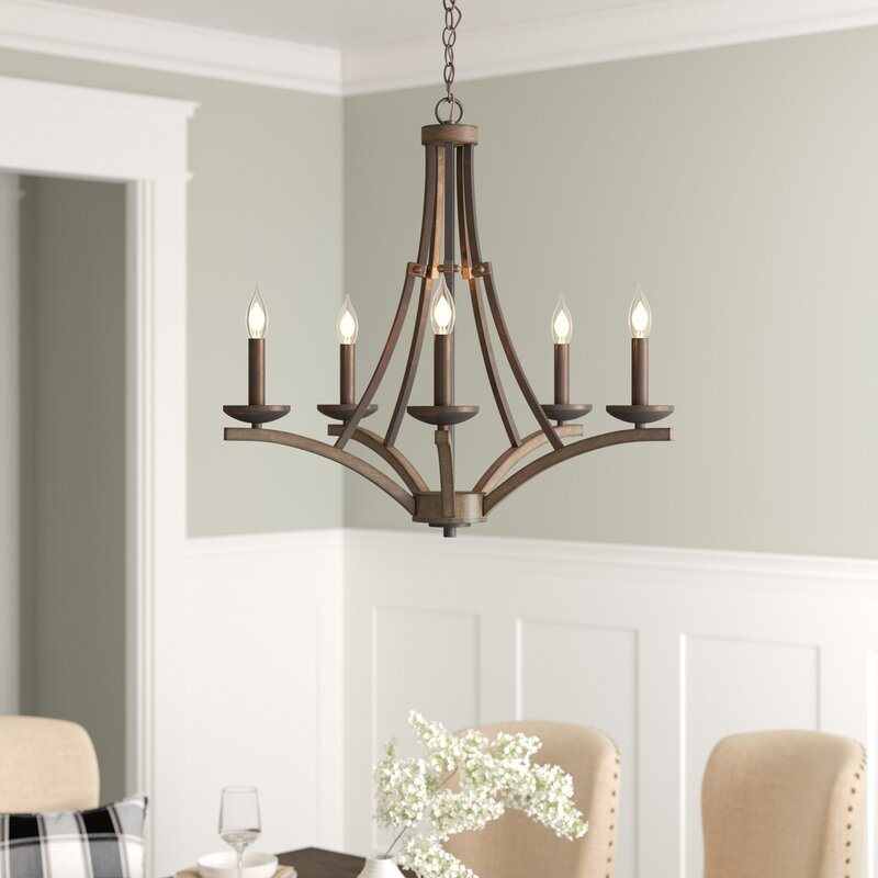 Wireman 5 Light Candle Style Chandelier In Camilla 9 Light Candle Style Chandeliers (View 14 of 20)