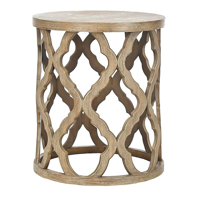 Wood Accent Table Quatrefoil End Linen – Nimai (View 38 of 50)