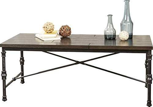 Wood Coffee Table With Metal Base – Coffee Table With X With Carbon Loft Fischer Brown Solid Birch And Iron Rustic Coffee Tables (View 24 of 25)