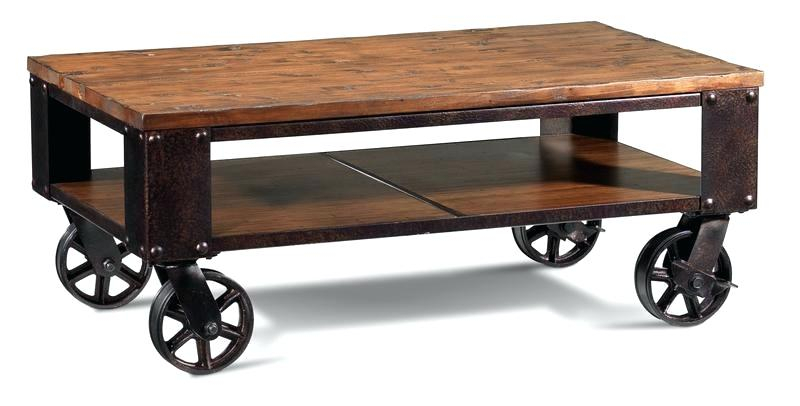 Wood Coffee Table With Wheels – Av Show Intended For Montgomery Industrial Reclaimed Wood Coffee Tables With Casters (View 27 of 50)