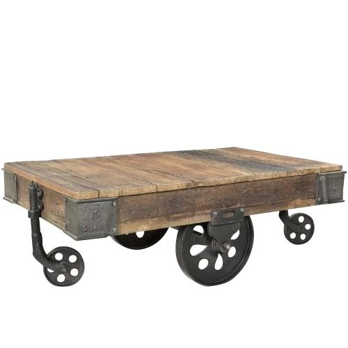 Wood Coffee Table With Wheels – Juandamark Intended For Montgomery Industrial Reclaimed Wood Coffee Tables With Casters (View 8 of 50)