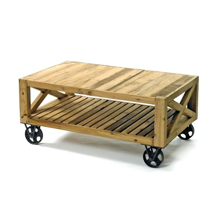 Wood Coffee Table With Wheels – Kamall (View 35 of 50)