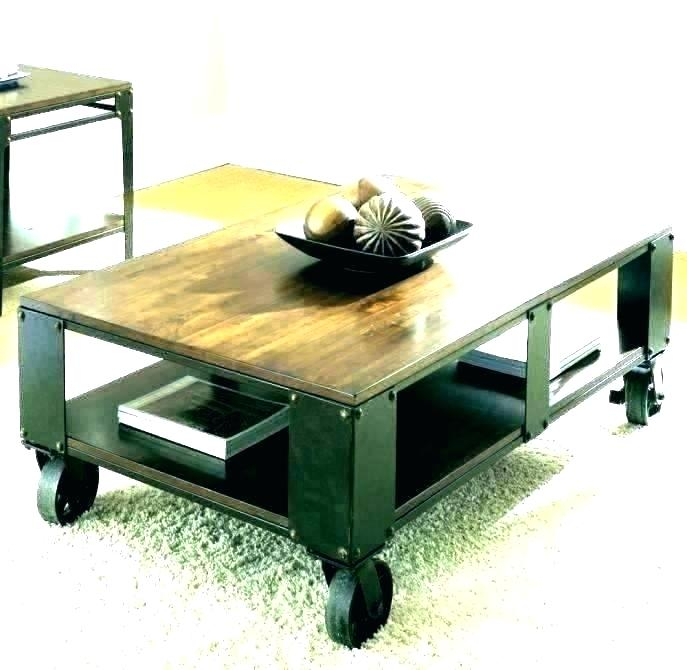 Wood Coffee Table With Wheels – Maydaymarch In Montgomery Industrial Reclaimed Wood Coffee Tables With Casters (View 46 of 50)