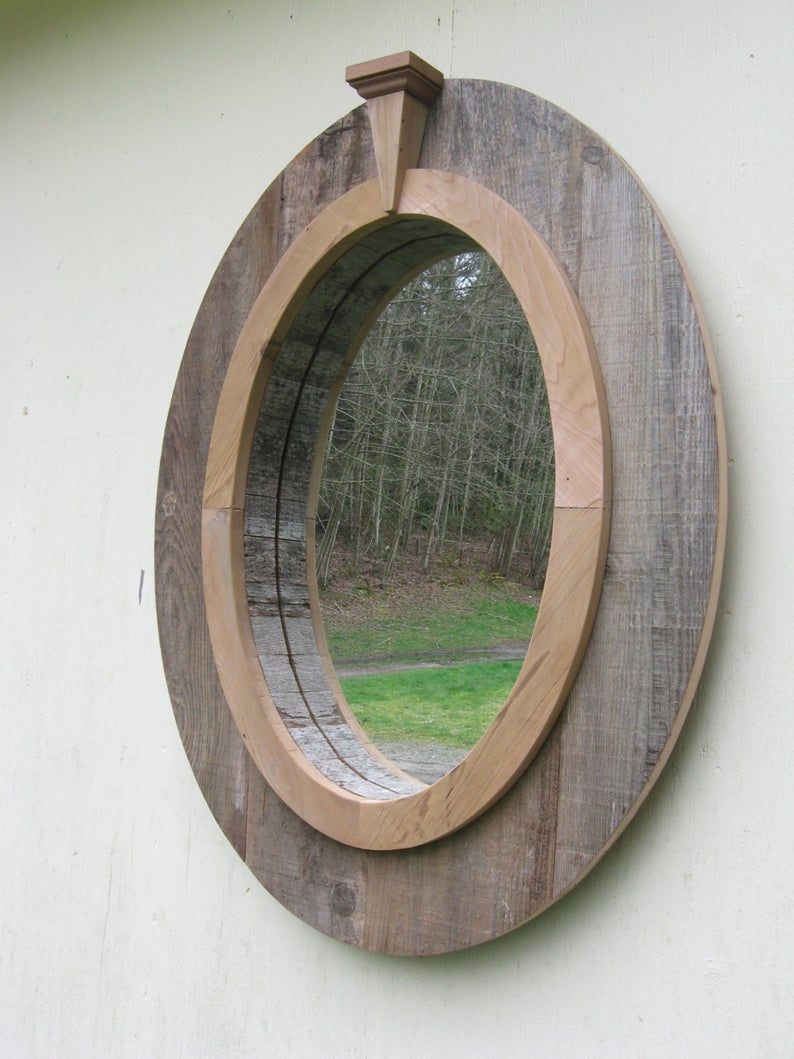 Wood Oval Wall Mirror With Decorative Compass Point With Oval Wood Wall Mirrors (View 19 of 20)