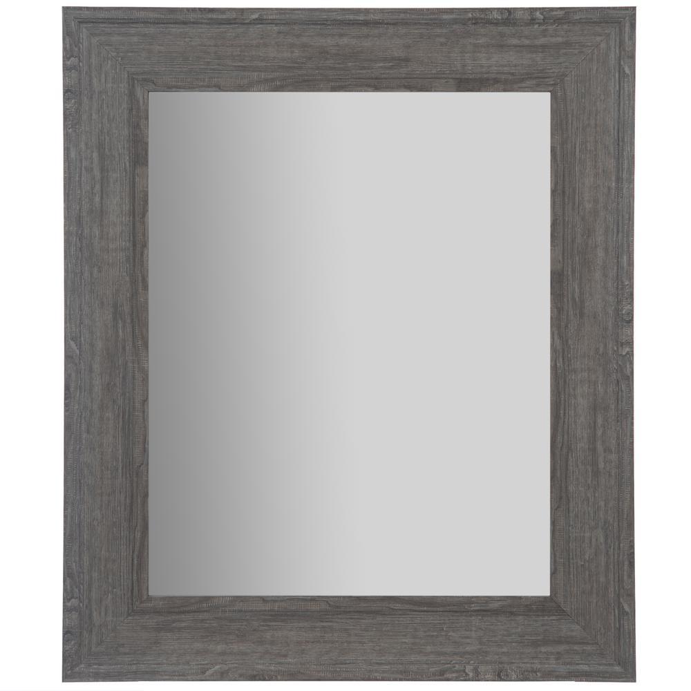 Woodgrain Framed Rectangular Graywash Decorative Mirror Inside Rectangle Plastic Beveled Wall Mirrors (View 7 of 20)