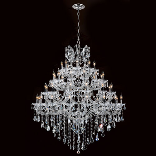 Worldwide Lighting Corp Maria Theresa Chandelier 49 Light Chrome Finish  With Clear Crystals Chandelier Regarding Emaria 3 Light Single Drum Pendants (Image 24 of 25)