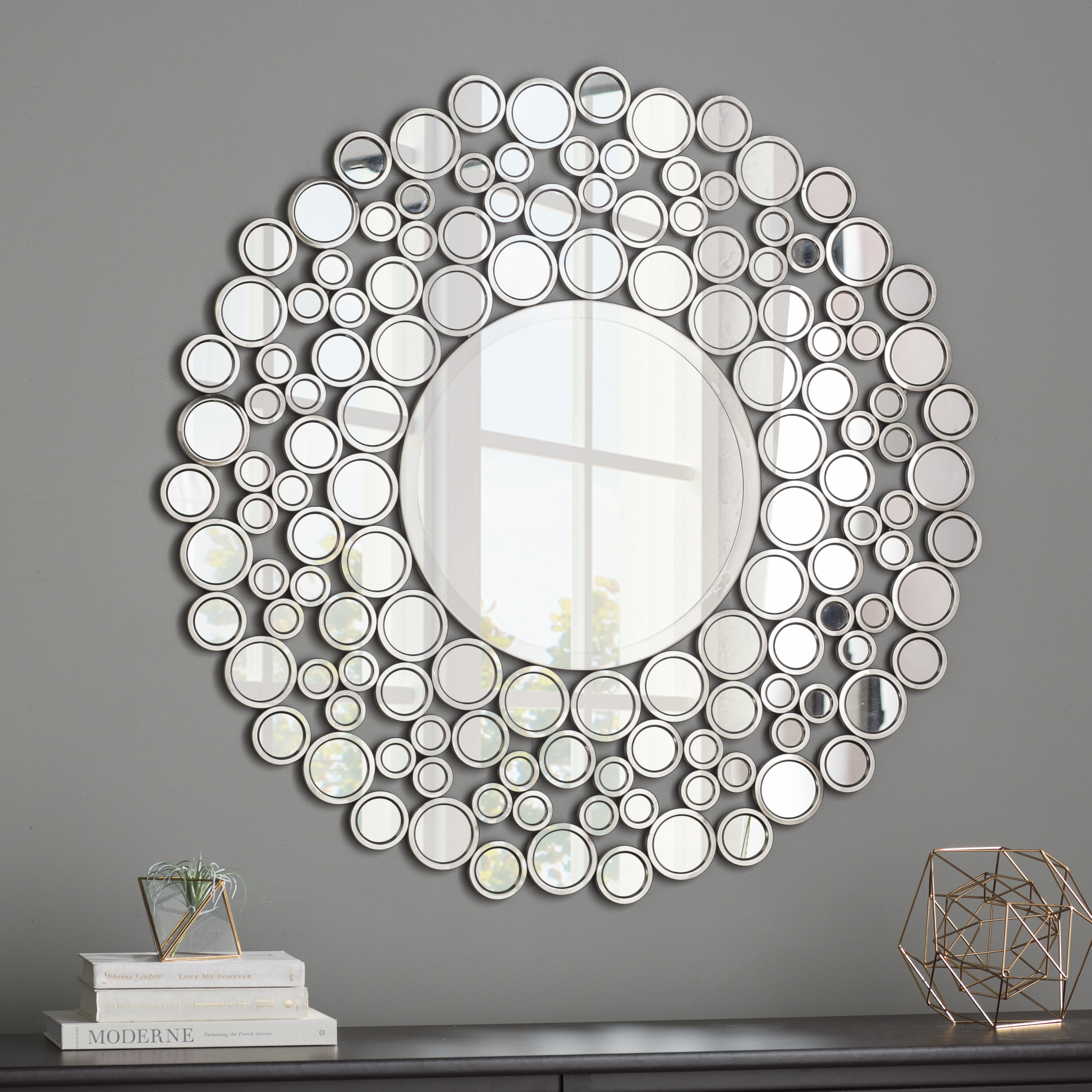 Wrought Studio Kentwood Round Wall Mirror Within Tata Openwork Round Wall Mirrors (Image 20 of 20)