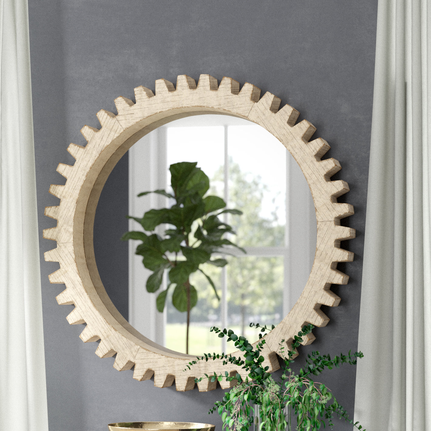 Xzavier Cog Wall Mirror Pertaining To Karn Vertical Round Resin Wall Mirrors (View 7 of 20)