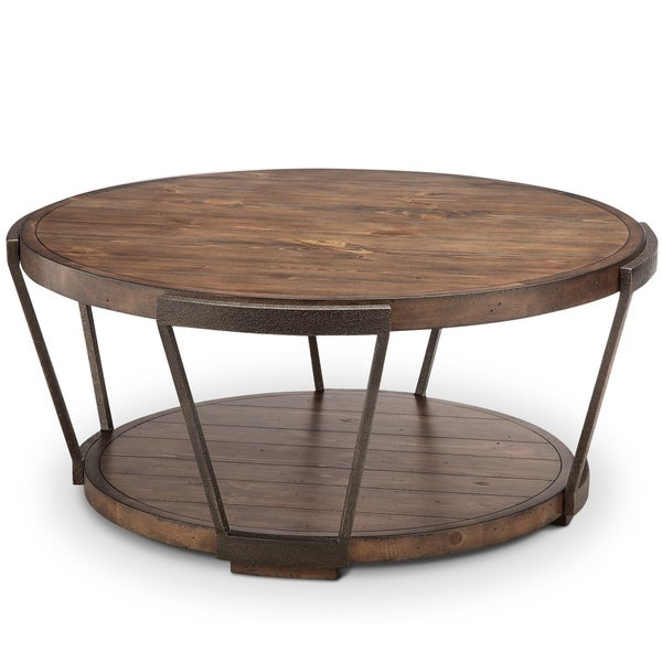 Yukon Industrial Bourbon And Aged Iron Round Coffee Table With Casters Pertaining To Montgomery Industrial Reclaimed Wood Coffee Tables With Casters (View 3 of 50)