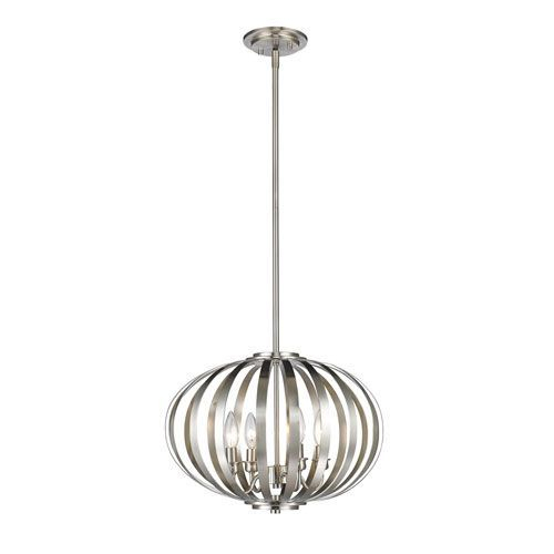 Z Lite Moundou Brushed Nickel Four Light Globe Pendant For Granville 3 Light Single Dome Pendants (Photo 17 of 25)