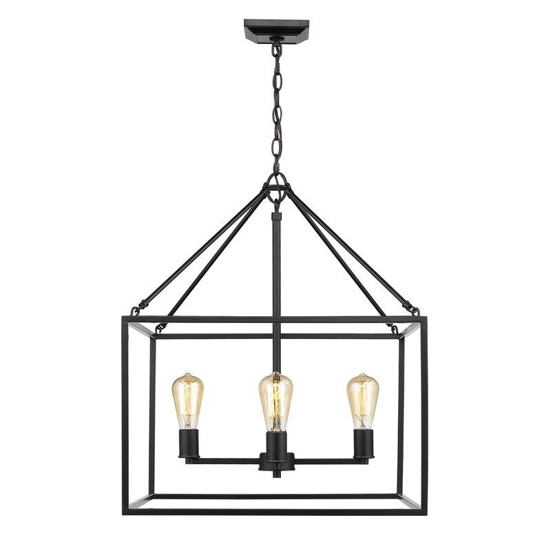 Zabel 4 Light Lantern Square / Rectangle Pendant Intended For Sherri Ann 3 Light Lantern Square / Rectangle Pendants (Photo 18 of 25)