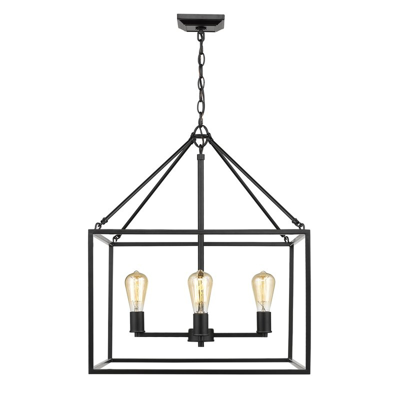 Zabel 4 Light Lantern Square / Rectangle Pendant Pertaining To Thorne 6 Light Lantern Square / Rectangle Pendants (Photo 20 of 20)
