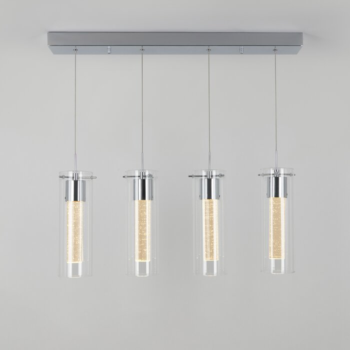 Zachery 4 Light Led Kitchen Island Cylinder Pendant Intended For Schutt 4 Light Kitchen Island Pendants (Photo 12 of 25)
