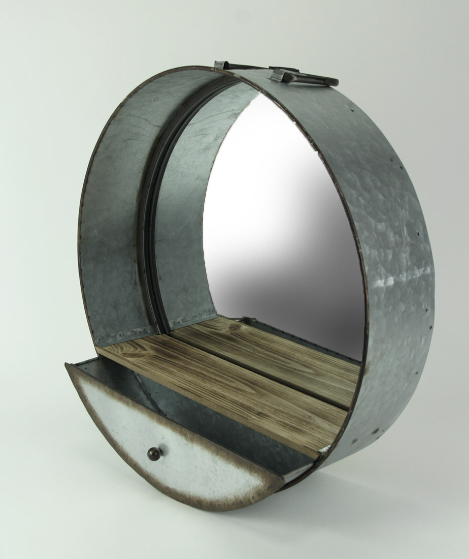 Zeckos Rustic Galvanized Metal Tub Frame Round Wall Mirror With Drawer Regarding Round Galvanized Metallic Wall Mirrors (View 19 of 20)
