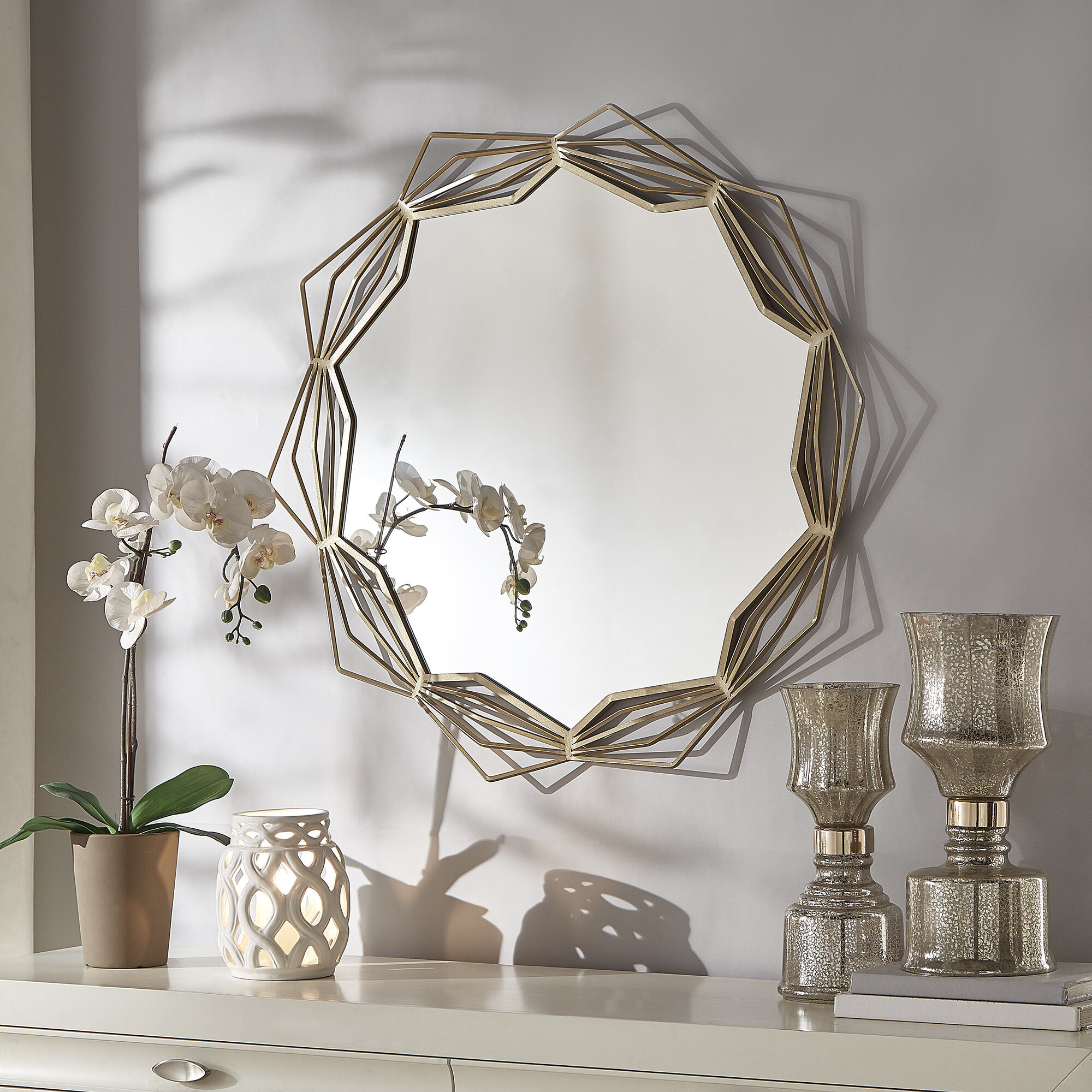 Zeman Modern And Contemporary Accent Mirror Within Dekalb Modern & Contemporary Distressed Accent Mirrors (Image 20 of 20)