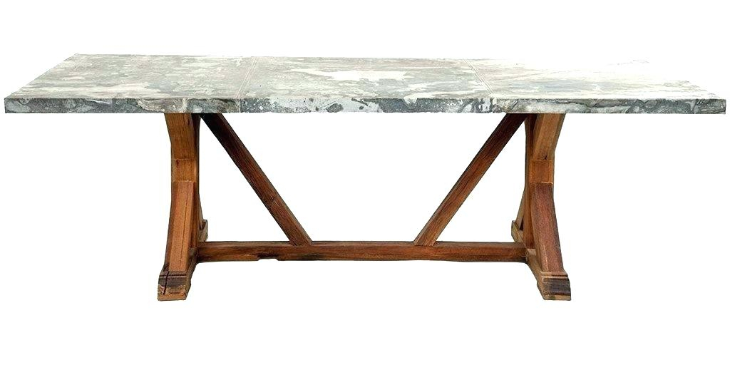 Zinc Topped Dining Table – Saasflow.co Regarding Aberdeen Industrial Zinc Top Weathered Oak Trestle Coffee Tables (Photo 23 of 25)