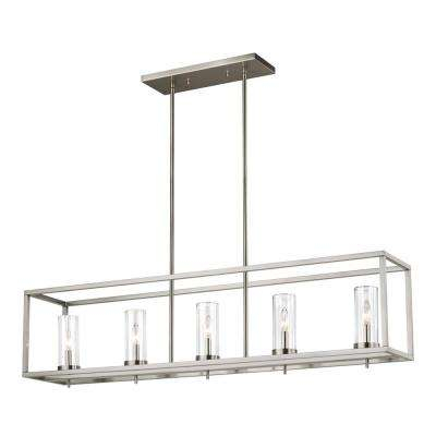 Zire 5 Light Brushed Nickel Island Pendant With Clear Glass Shades For Schutt 1 Light Cylinder Pendants (Photo 18 of 25)