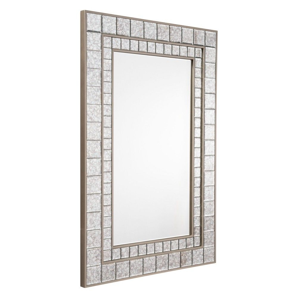 "Zm Home 47"" Vintage Modern Rectangular Beveled Mirror Silver Within Modern & Contemporary Beveled Wall Mirrors (Photo 18 of 20)"