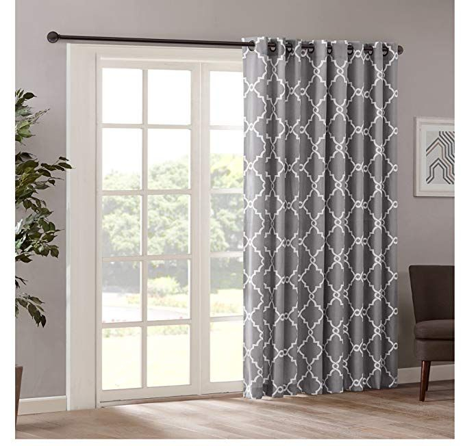 1 Piece 84 Inch Grey Color Geometric Sliding Door Curtain For Davis Patio Grommet Top Single Curtain Panels (Image 1 of 25)