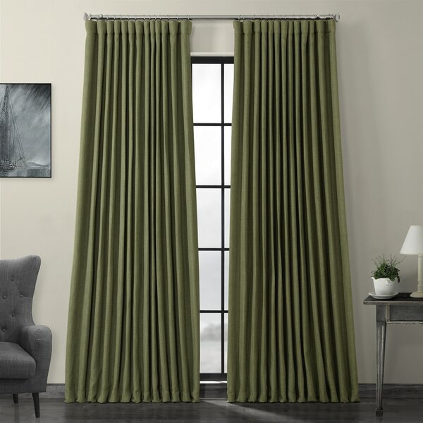 100 Inch Wide Curtain Panels | Wayfair Within Heavy Faux Linen Single Curtain Panels (Image 1 of 25)