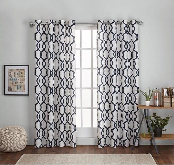 108 Inch Indigo Blue White Diamond Curtains Panel Pair Set Throughout Abstract Blackout Curtain Panel Pairs (Image 1 of 25)