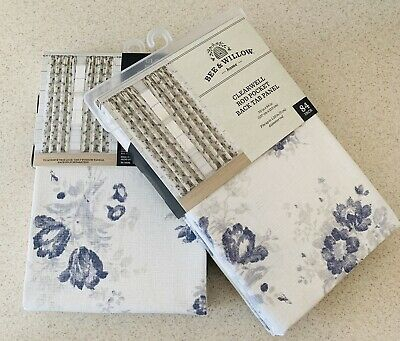 (2) Bee & Willow Clearwell Rod Pocket Curtains Farmhouse Blue Shabby Chic Floral | Ebay For Willow Rod Pocket Window Curtain Panels (View 21 of 25)