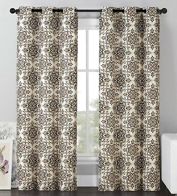 "2 Blackout Window Curtains Panel Pair Grommet Drape Thermal Brown  Medallion, 96"" 751571495244 