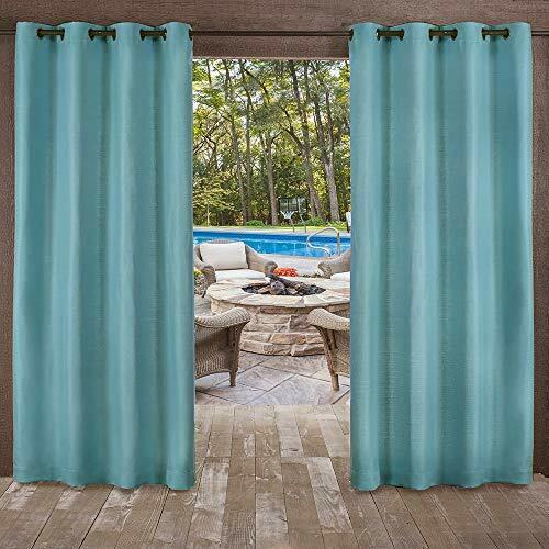 2 Panels Outdoor Patio Curtain Grommet Top 54X84 Teal Heavy Weave Privacy Gazebo Inside Indoor/outdoor Solid Cabana Grommet Top Curtain Panel Pairs (View 7 of 25)
