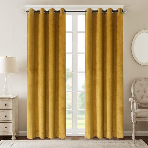 2 Panels Roslynwood Velvet Curtains Room Darkening Grommet Top Window  Curtain Panel Pair Drapes Yellow For Bedroom Custom Drapery With Velvet Heavyweight Grommet Top Curtain Panel Pairs (Image 1 of 25)