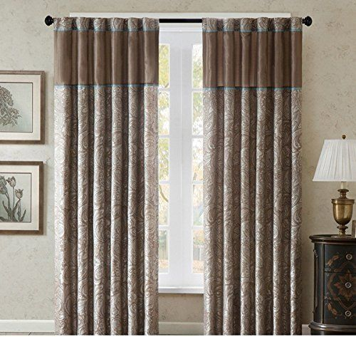 2 Piece 84 Inch Brown Solid Color Nature Paisley Window Inside Whitman Curtain Panel Pairs (Image 1 of 25)