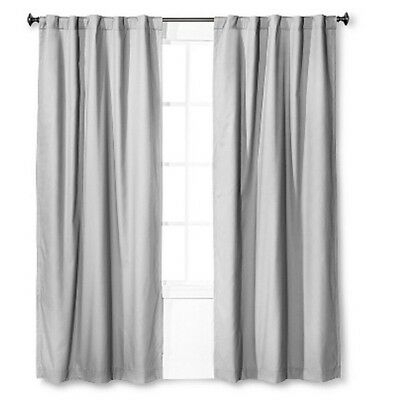 """2 Pillowfort Twill Light Blocking Lined Curtain Panel 84"""" Gray Pair Nwop 