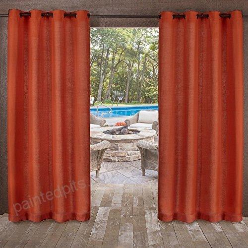 2Pc 96 Mecca Orange Indoor Outdoor Heavy Textured Gazebo Inside Indoor/outdoor Solid Cabana Grommet Top Curtain Panel Pairs (View 20 of 25)