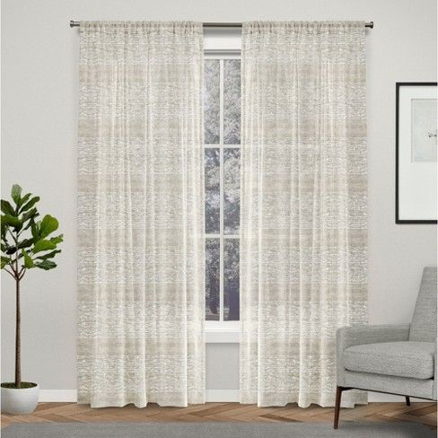 "54""x96"" Crest Stripe Embellished Sheer Grommet Top Curtain With Regard To Vue Elements Priya Tab Top Window Curtains (Image 5 of 25)"