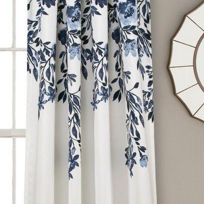 """84"""" X 52"""" Tanisha Room Darkening Window Curtain Panels Navy With Dolores Room Darkening Floral Curtain Panel Pairs (Image 2 of 25)"""
