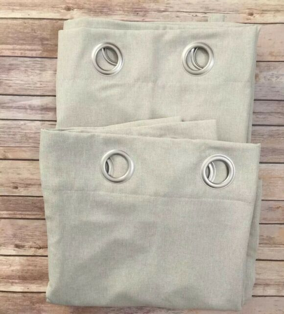 "Aki Home Grommet Top Beige Lined Blackout Curtain Panel Pair 54"" X 96"" With Woven Blackout Curtain Panel Pairs With Grommet Top (Image 2 of 25)"